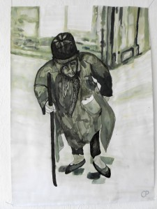old man in the street, Chinatusche 29,7 x 21 cm