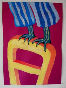 Trilogy: gannet's jump from the chair, Acryl 70 x 50 cm