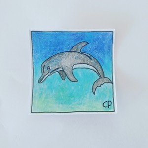 The dolphin is jumping in the sea